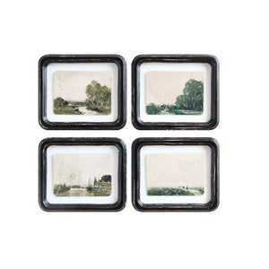 Wood Framed Floating Antique Landscape Picture