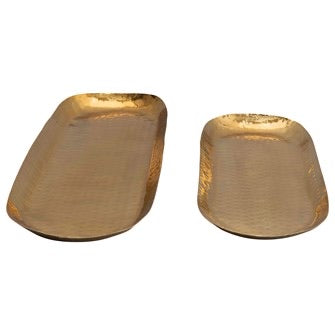 Hammered Stainless Steel Oval Trays, Brass Finish