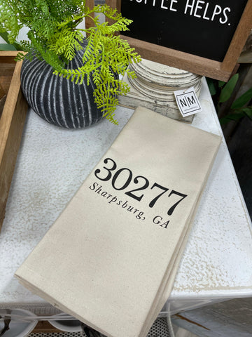 Zip Code Tea Towel | 30263 | 30265 | 30277 | 30259 | 30268