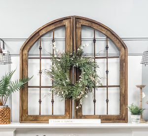 Metal and Wood Double Arch Window Set of 2