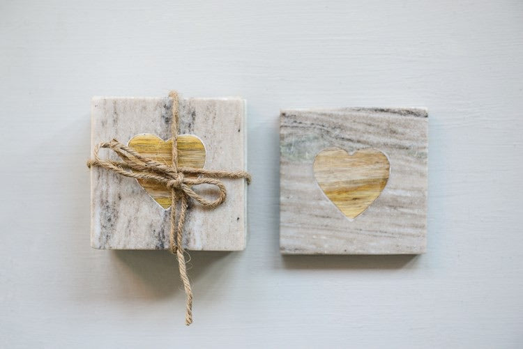 "4"" Square Marble Coasters Set"