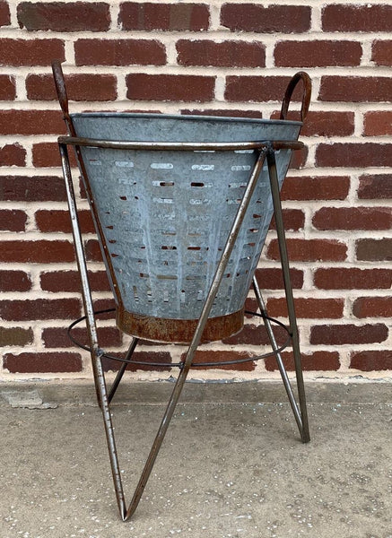 Olive Bucket Porch Planter with Stand