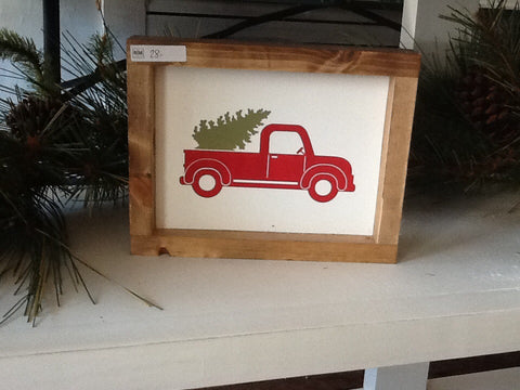 Christmas Red Truck Sign
