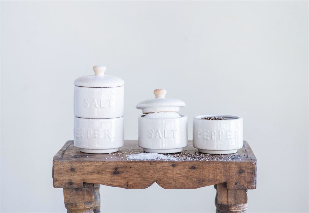 Stoneware Stackable Salt and Pepper Pots with Lid | White