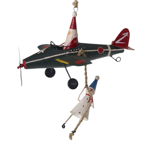 Pilot Santa Airplane Ornament