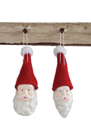 Santa ornament with knit hat