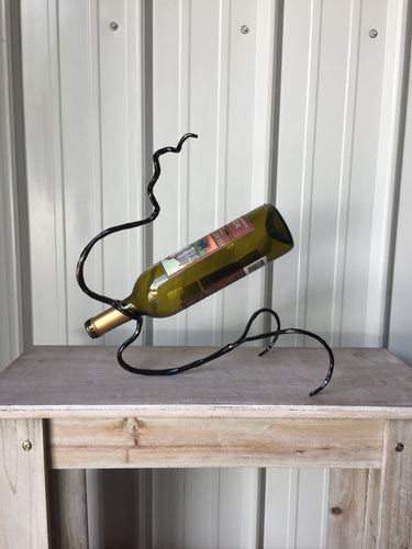 SHOP NOW - www.mittysmetalart.com - Metal Wine Bottle Holder, Blacksmith, 6th Anniversary Gift of Iron