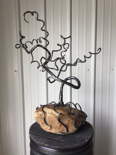 Buy Now - www.mittysmetalart.com - Blacksmith Metal Bonsai Tree, Sculpture, Jewelry Display, Iron Gift