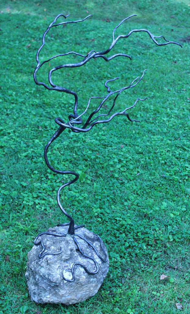 Bonsai Metal Tree Sculpture With Rock Base Blacksmith