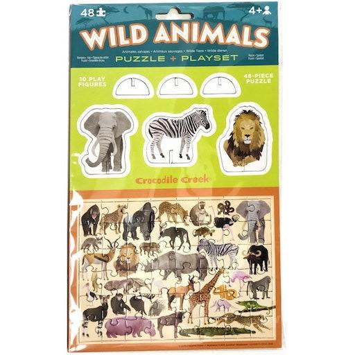Pop-Out Puzzle & Playset - Wild Animals