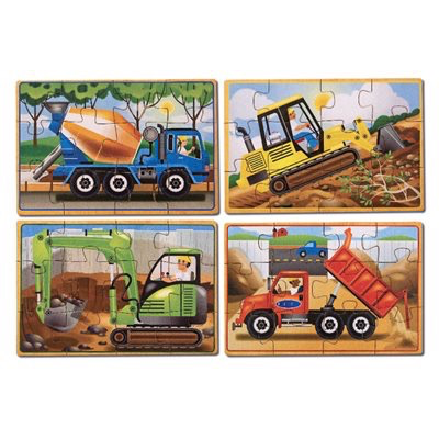 Construction: Four 12-Piece Wooden Puzzles in a Box