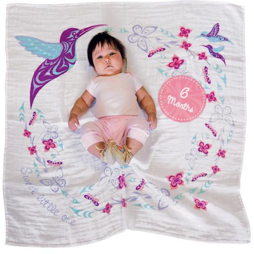 Baby Blanket and Milestone Set - Hummingbird