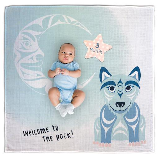 Baby Blanket and Milestone Set - Wolf