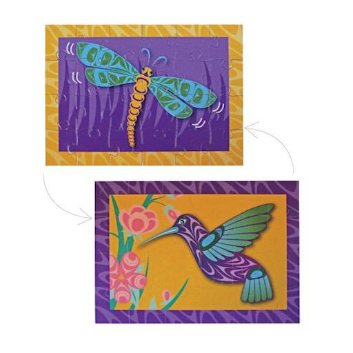 24pc Mini Double-Sided Puzzle - Dragonfly & Hummingbird