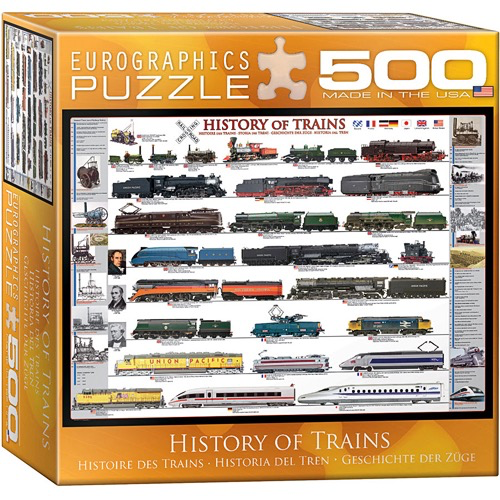 History of Trains 500-Piece Puzzle (Small Box)