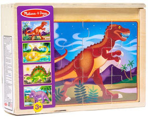 Dinosaurs: Four 12-Piece Wooden Puzzles in a Box