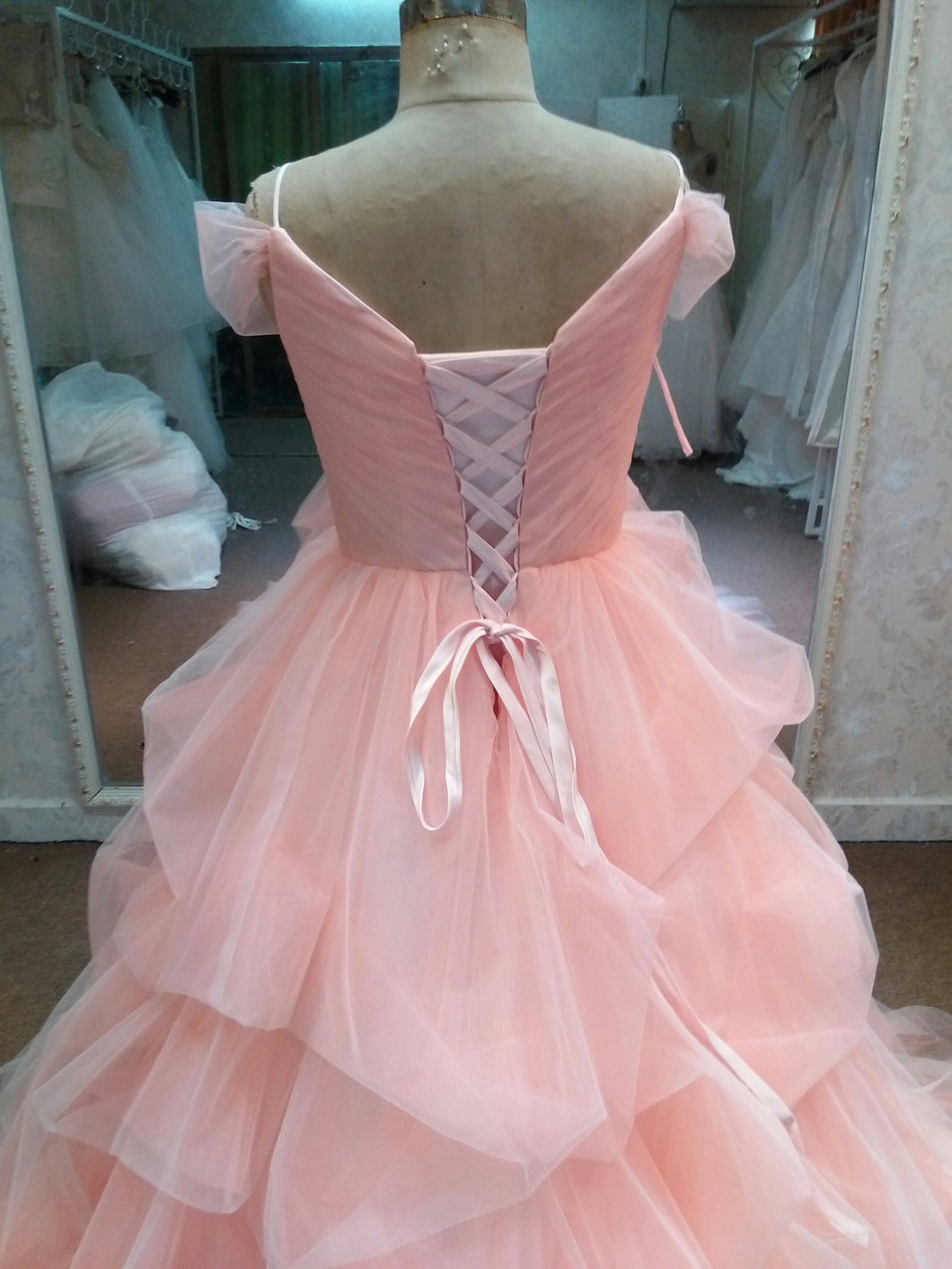 Pastel Pink Plus Size Ball Gown Wedding Dress by Darius – Darius Cordell