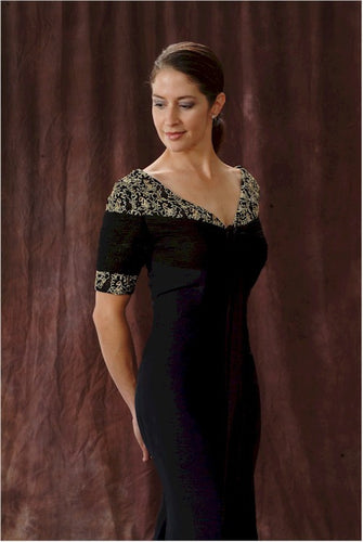 Darius Cordell | Black short sleeve mother of the bride dress in silk