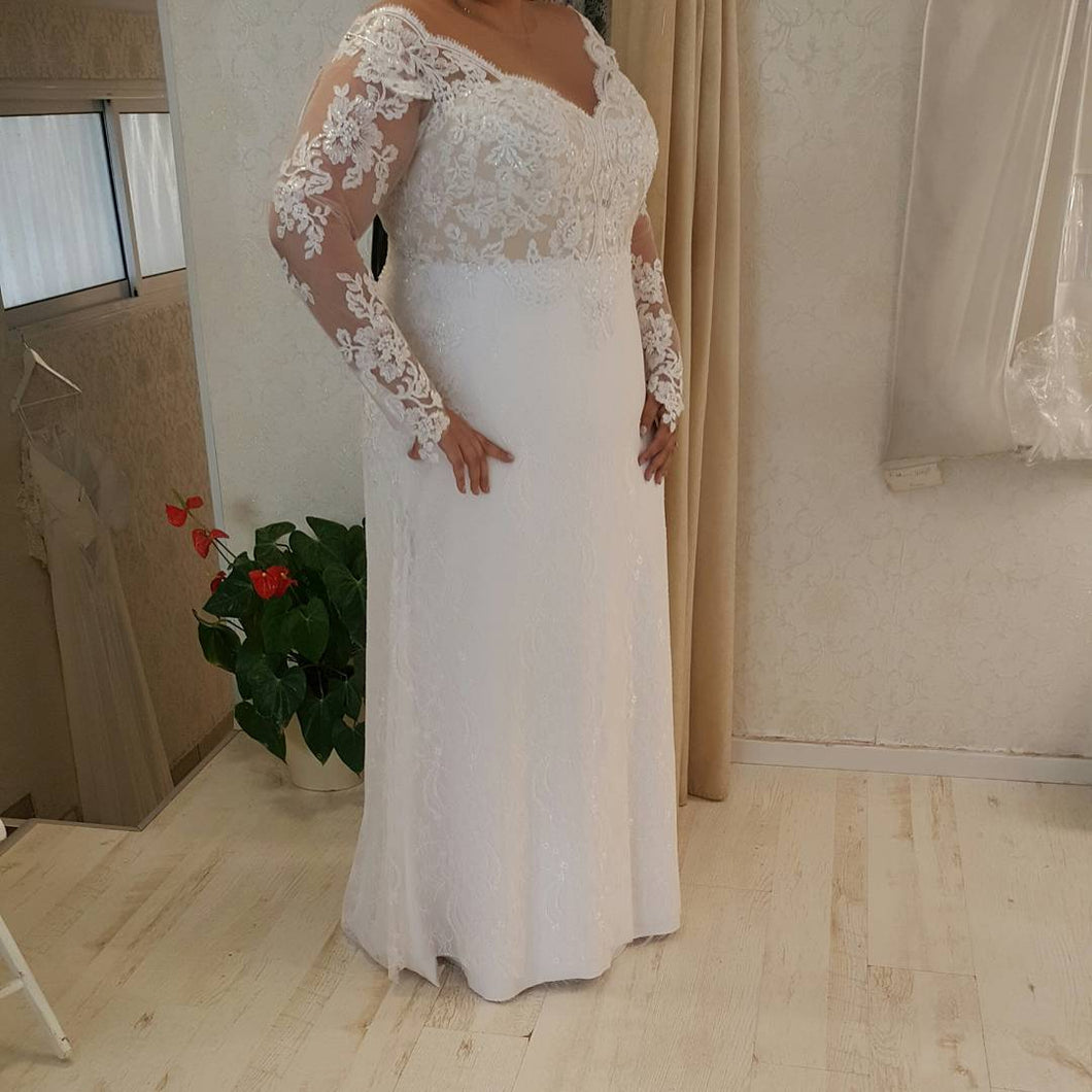 #1dd8 - plus size v-neck wedding dresses