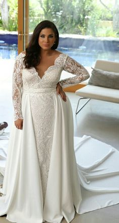 #4c74 - Long sleeve plus size bridal gown with large satin overskirt