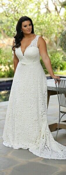 Style #5ba8 - plus size v-neck lace wedding dresses