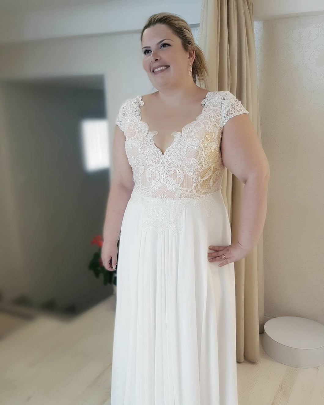 #6b7a - plus size bridal dresses with cap sleeves