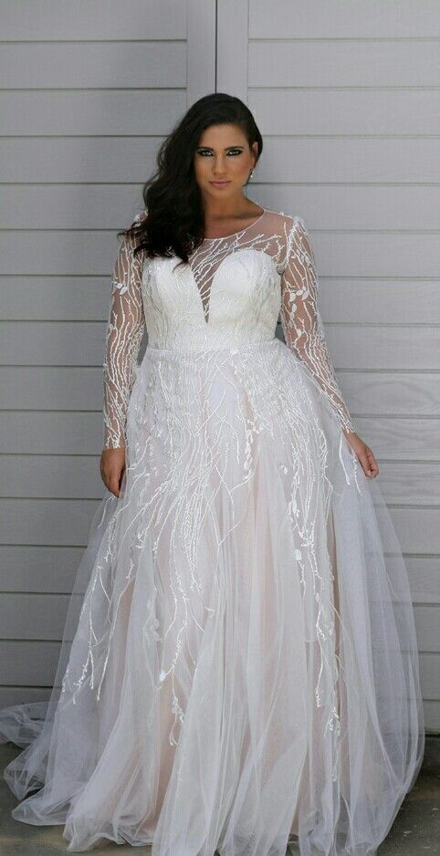 #92bf - Sheer long sleeve plus size bridal dresses