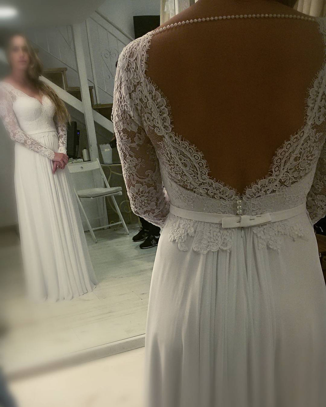 #9d65 - backless plus size wedding dresses -