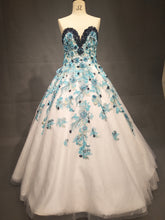 #C2017-Andreas Strapless Blue Flower ball gown from Darius Customs
