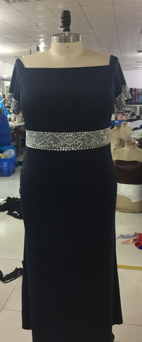 Navy blue short sleeve plus size evening dress from Darius Couture