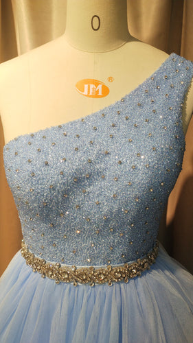 One Shoulder Blue Formal Evening Gown