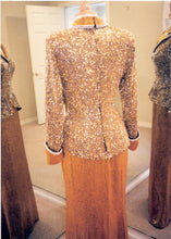 Long sleeve Liquid beaded Pageant Gown by Darius