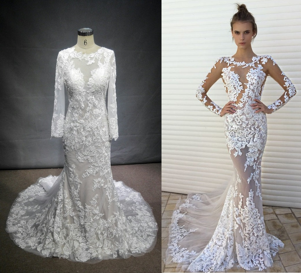 Style #C2017-Vidal: Berta inspired custom long sleeve wedding dress by Darius Customs