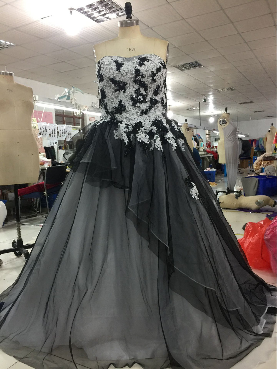 Strapless black ball gowns from Darius Dresses