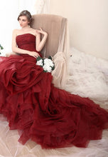 Style #S519 Strapless Burgundy colored Formal Evening Gowns - Wedding Dress