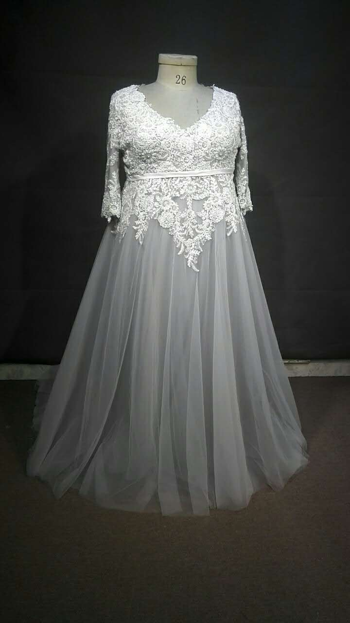 Darius Customs #C2017-ping - Three Quarter length sleeve plus size wedding gown