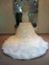#051017YS - beaded fit-and-flare ruffle wedding gown from Darius Cordell