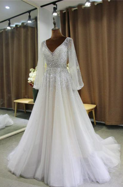 Style VNDC116 Bishop sleeve wedding gowns from Darius Cordell