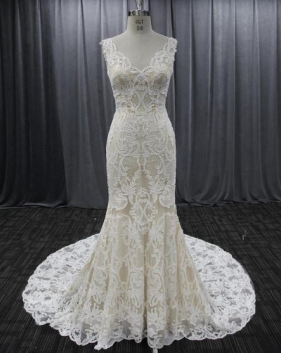 Style VNDM018 v-neck bridal dresses with emrboidery and lace from Darius Cordell