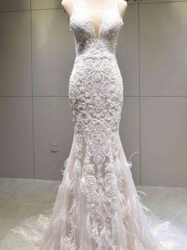 #VNDM449 - Halter wedding gowns with feathers