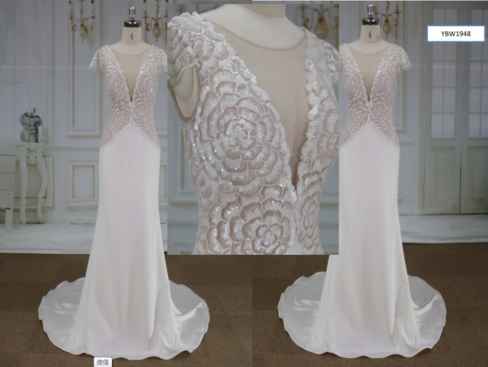 Style YBW1948 Sequin flower wedding dresses with cap sleeves from darius cordell
