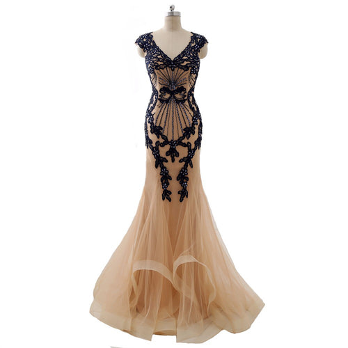 Cap sleeve embroidered evening gown from Darius Designs