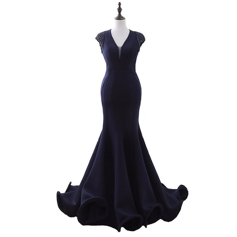 Navy blue Cap sleeve Evening Gown from Darius Dresses