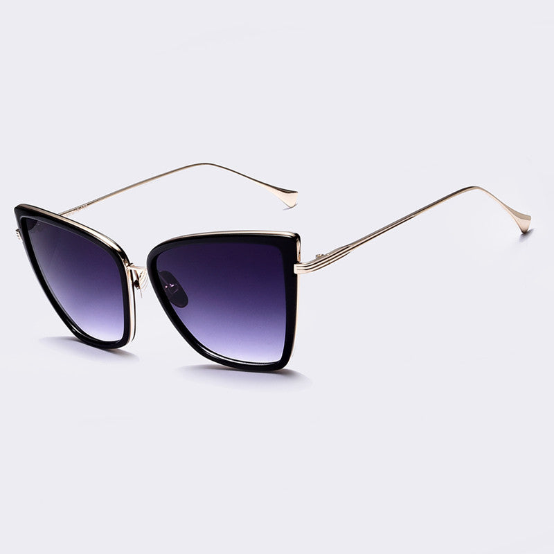 AOFLY New Fashion Women Sunglasses Cat  Mirror Glasses Metal Cat Eye Sunglasses Women Brand Designer High Quality Square Style - Sunglasses Outlet