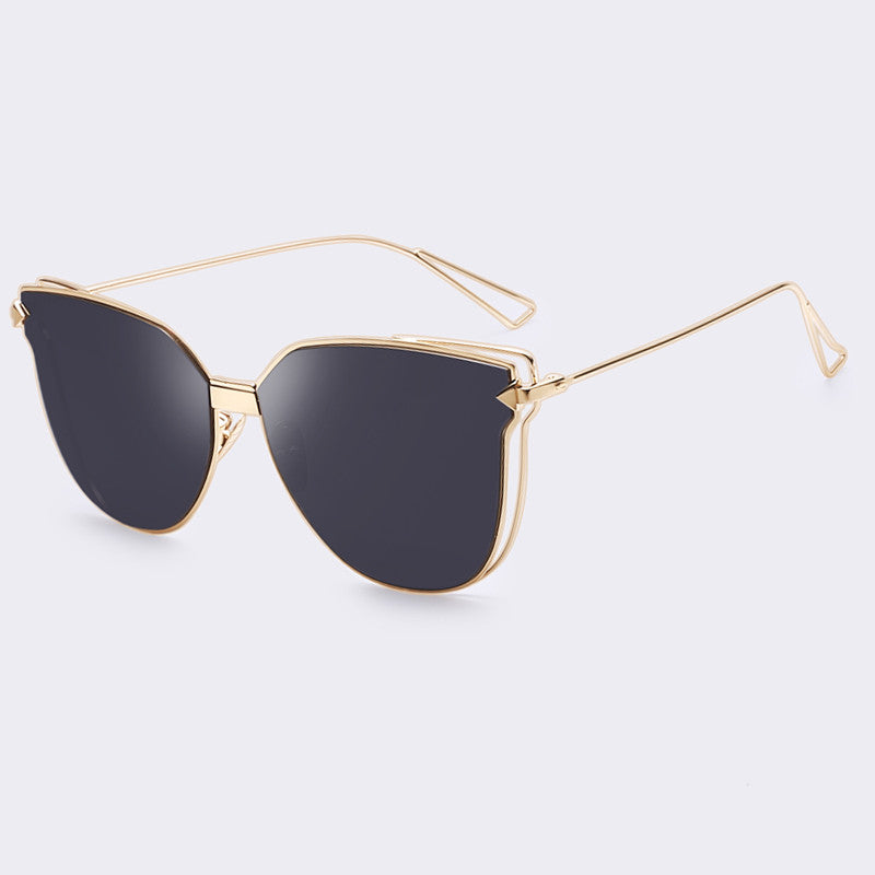 AOFLY Women Metal Cat Eye Sunglasses Double Frame Mirror Sun glasses Fashion Lady Brand Design Cat Eye Unique Style High Quality - Sunglasses Outlet