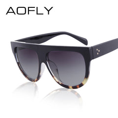 AOFLY 2017 Fashion Sunglasses Women Flat Top Style Brand Design Vintage Sun glasses Female Rivet Shades Big Frame Shades UV400