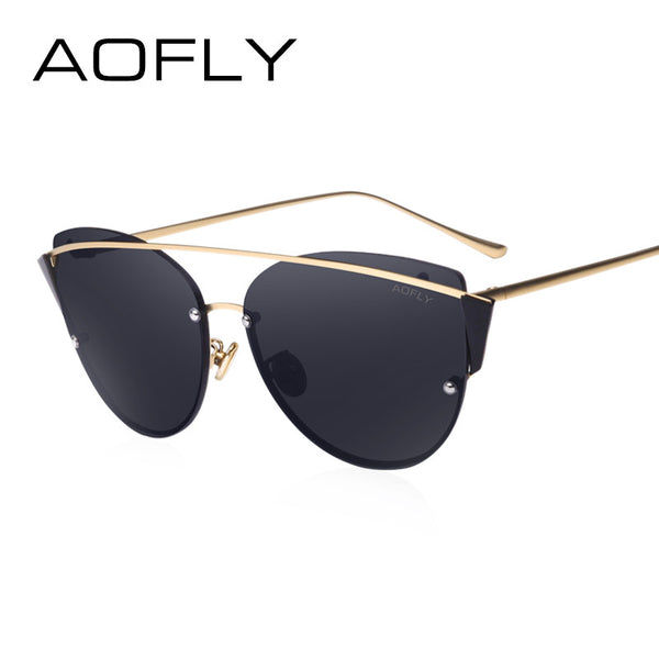 AOFLY Original Brand Sunglasses 2017 Super Fashion Cat Eye Women Glasses Double Bridge Frame Luxury Designer Revo Lens AF79106
