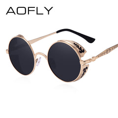 AOFLY Steampunk Vintage Sunglass Fashion round sunglasses women brand designer metal carving sun glasses men oculos de sol S1635 - Sunglasses Outlet