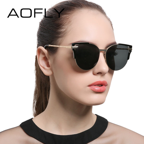 AOFLY Sunglasses Cat Eye Ladies Sunglasses 2017 Luxury Classic Women Fashion Shades Brand Designer Alloy Legs Points AF7964