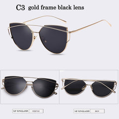 2017 Brand Cat Eye Sunglasses Women With Logo cateye Lady vintage retro Coating Mirror Metal Flat Lens Glasses lunette de soleil